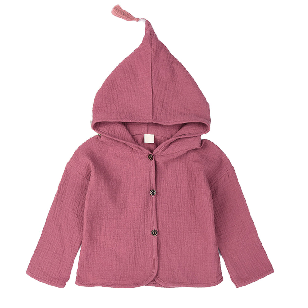 Fashion Solid Color Tassel Hooded Button Toddler Baby Girl Coat Jacket Outwear-Baby Clothing (0-2 years)-SJI Shop