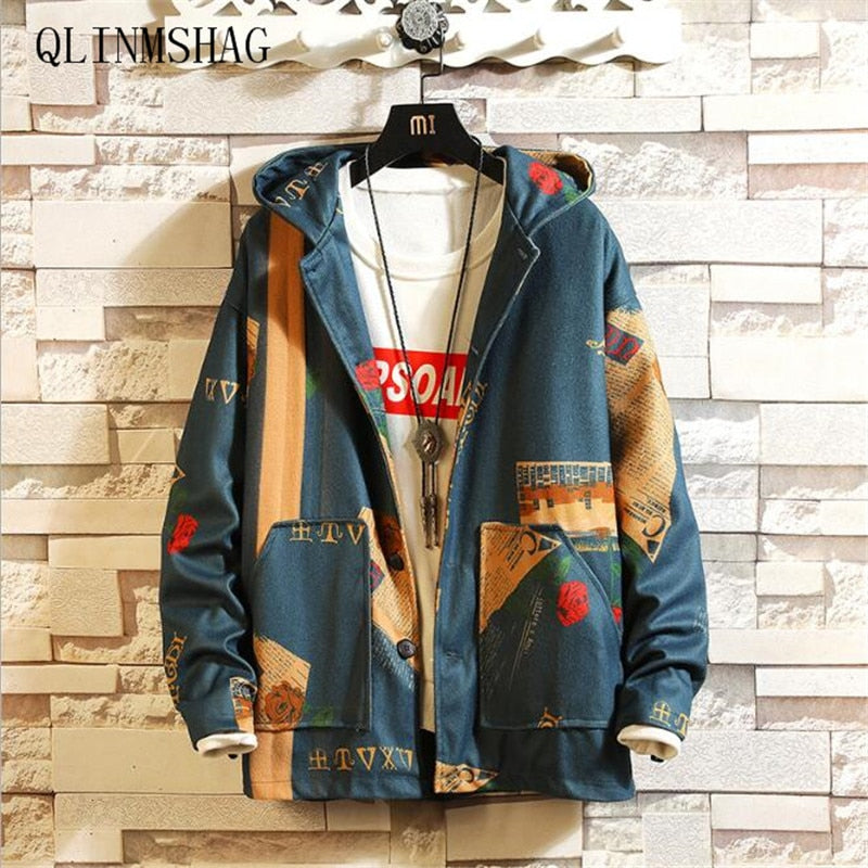 Privathinker INS Hooded Bomber Jackets Men's Streetwear Funny Print Windbreaker