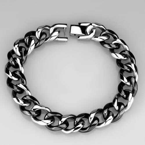 3W1000 - Stainless Steel Bracelet High polished (no plating) Women Ceramic Jet