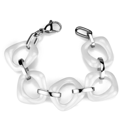 3W1012 - Stainless Steel Bracelet High polished (no plating) Women Ceramic White