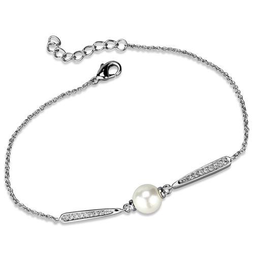 3W1041 - Brass Bracelet Rhodium Women Synthetic White