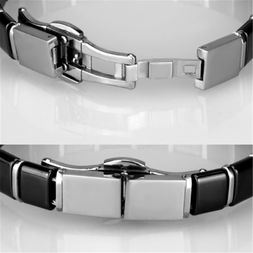 3W984 - Stainless Steel Bracelet High polished (no plating) Women Ceramic Jet