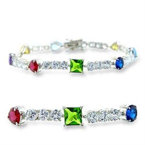 414402 - 925 Sterling Silver Bracelet High-Polished Women AAA Grade CZ Multi Color