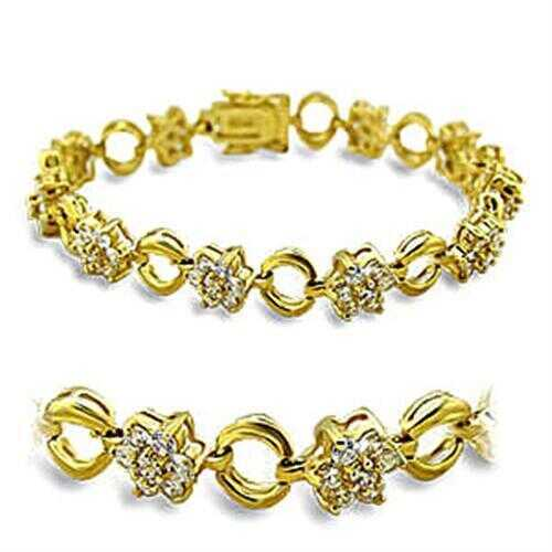 415506 - Brass Bracelet Gold Women AAA Grade CZ Clear