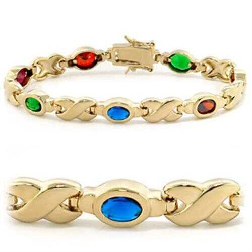 415603 - Brass Bracelet Gold Women AAA Grade CZ Multi Color