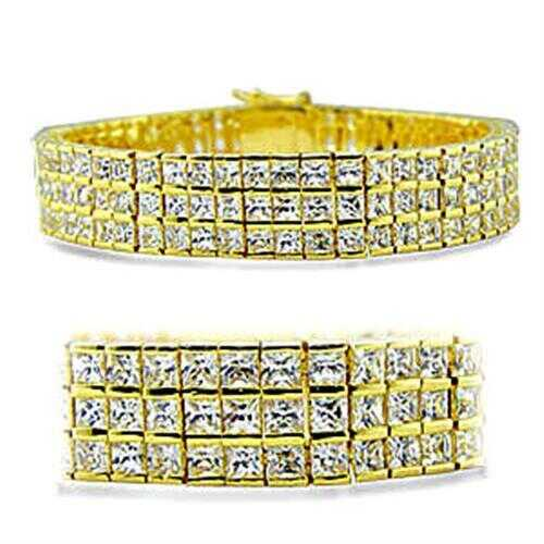 416003 - Brass Bracelet Gold Women AAA Grade CZ Clear