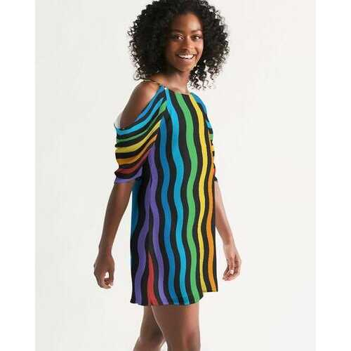 Rainbow Wave Womens Open Shoulder A-Line Dress