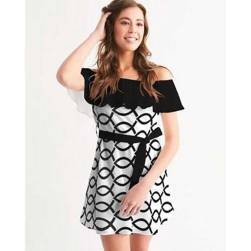 Love N Life Black And White Style Off-Shoulder Dress