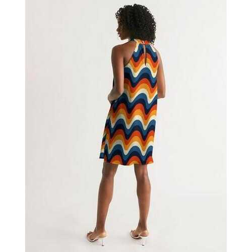 Geometric Colorful Stripes Halter Dress