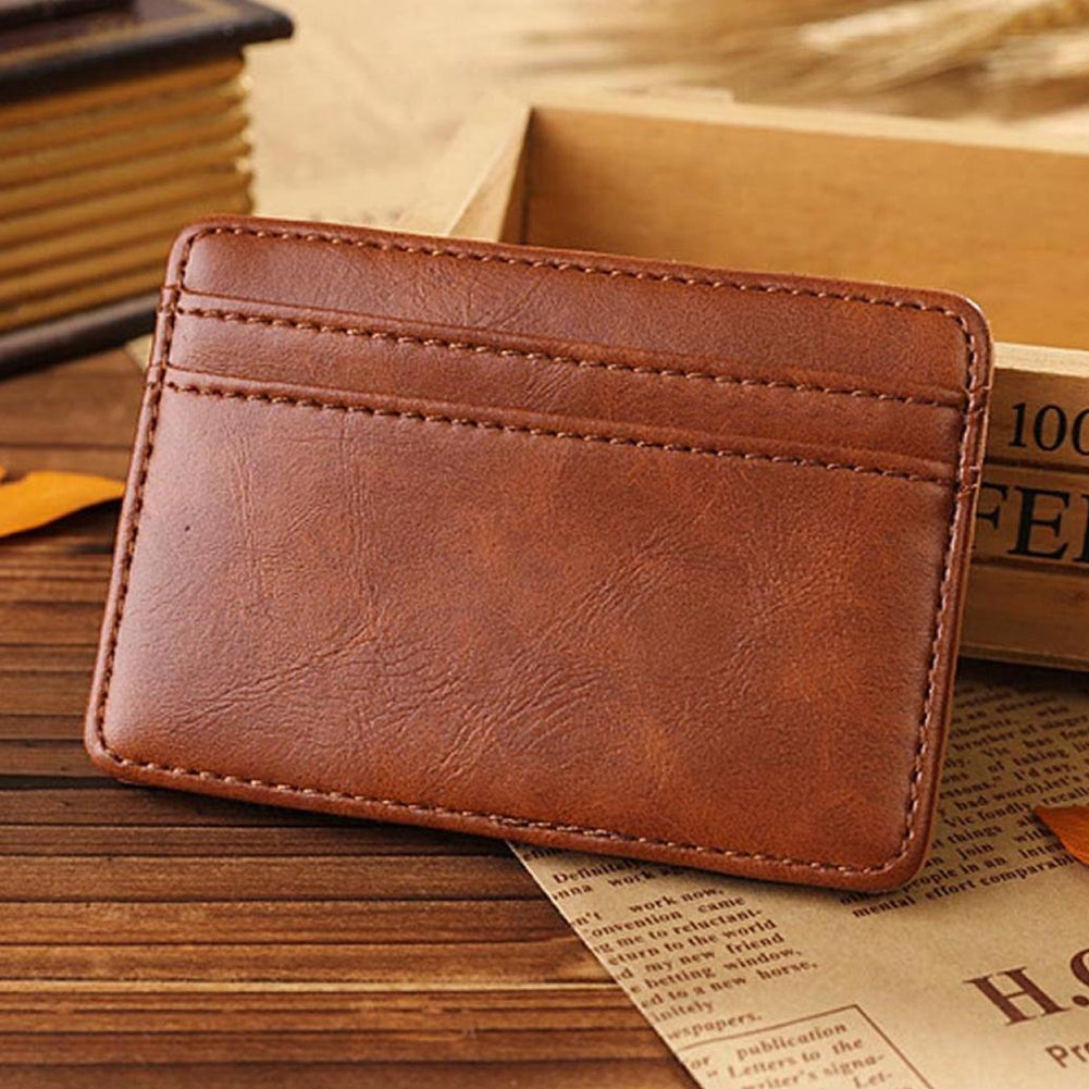 Men Vintage Faux Leather Money Clip Card Holder Pocket Slim Bifold Magic Wallet-Wallets-SJI Shop