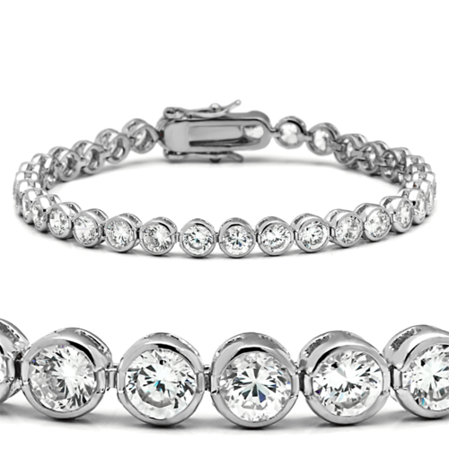 47201 - Brass Bracelet Rhodium Women AAA Grade CZ Clear