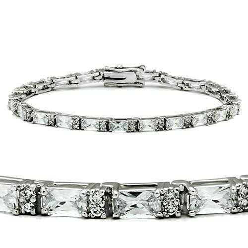 47401 - Brass Bracelet Rhodium Women AAA Grade CZ Clear