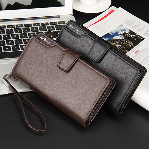 Men Faux Leather Long Wallet Zipper Credit Cards Phone Storage Purse Handbag-Wallets-SJI Shop