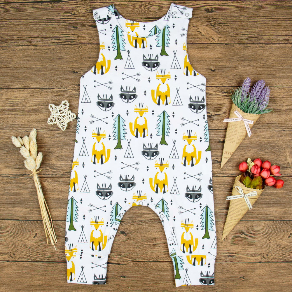 Toddler Baby Boy Girl Kids Fox Tree Romper Summer Sleeveless Jumpsuit Clothes-Baby Clothing (0-2 years)-SJI Shop