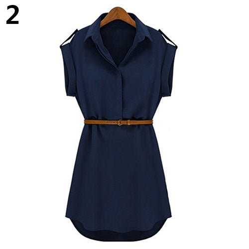 Women's Casual V-neck Cap Sleeve Solid Color Chiffon Shirt Dress with Brown Belt-Casual Dresses-SJI Shop