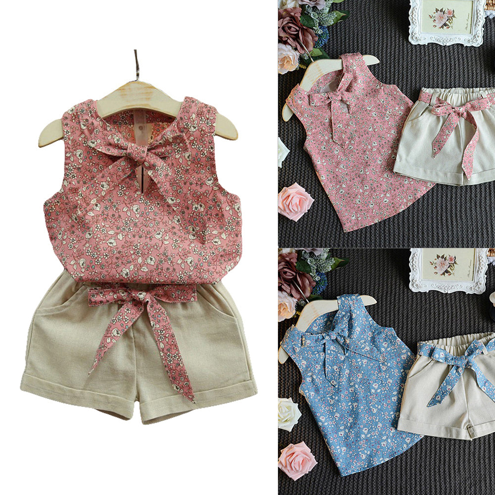 Baby Girl Clothes Floral Print Sleeveless Bowknot Top and Shorts Clothing Set-Baby's Sets-SJI Shop