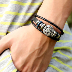 Women Men Faux Leather Cute Cool Braided Cuff Bracelet Jewelry Punk Wristband-Bracelets-SJI Shop
