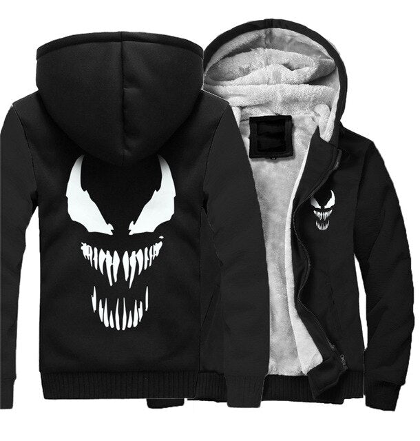Marvel Venom zipper Sweatshirts Men's Casual Hoodies Winter Thicken Coat Tops Clothing Cosplay Fashion Jacket Streetwear