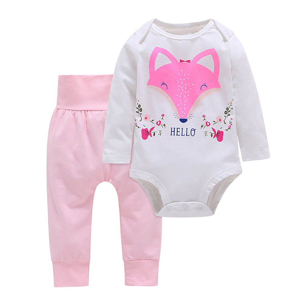 Fashion Baby Girls Hello Fox Long Sleeve Pullover Romper Pants Outfits Cloth Set-Baby's Sets-SJI Shop