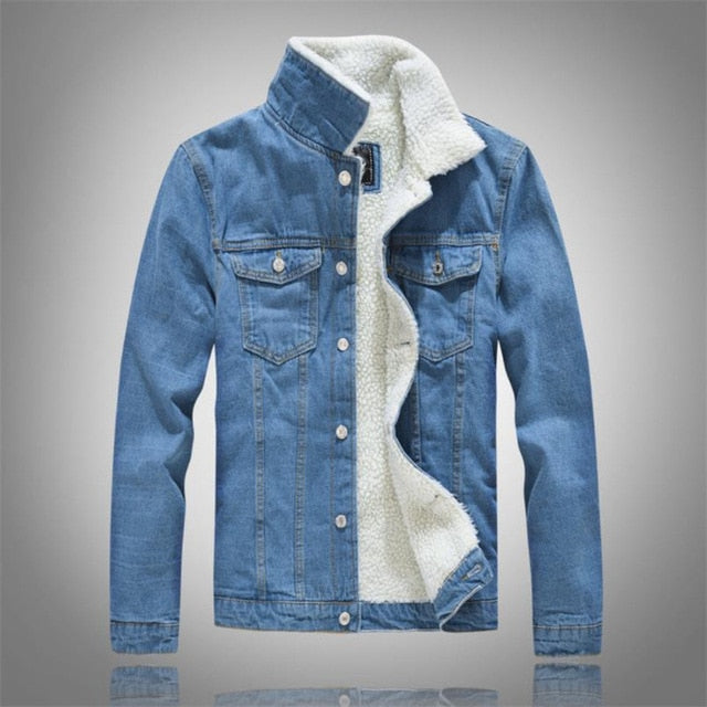 Winter Men's Casual Denim Jacket Plus Velvet Warm Cotton Coat