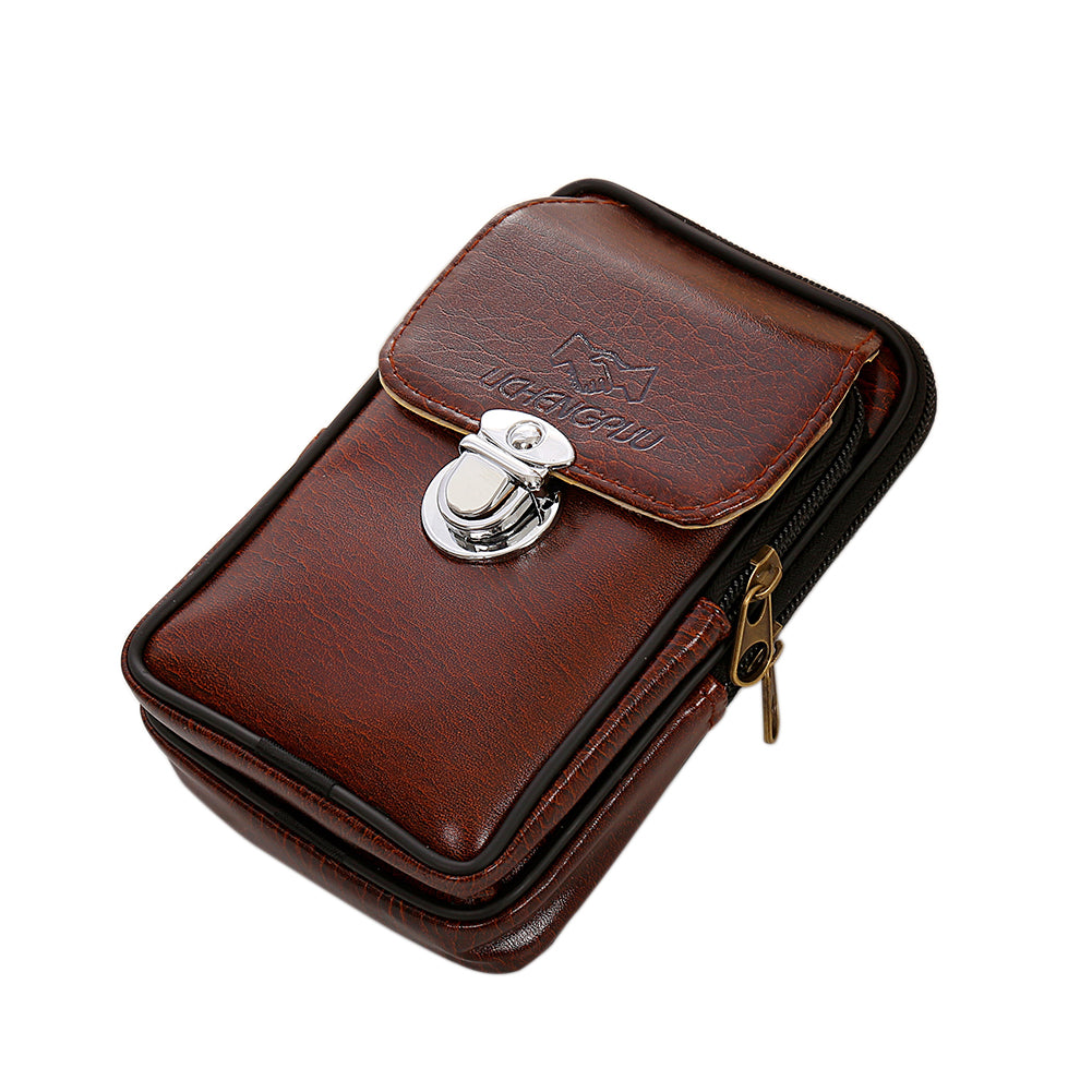 Men Vintage Faux Leather Fanny Rucksack Pack Zipper Waist Bag Belt Clip Pouch-Belt Bags-SJI Shop