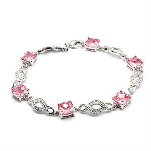 6X494 - Brass Bracelet Rhodium Women AAA Grade CZ Rose