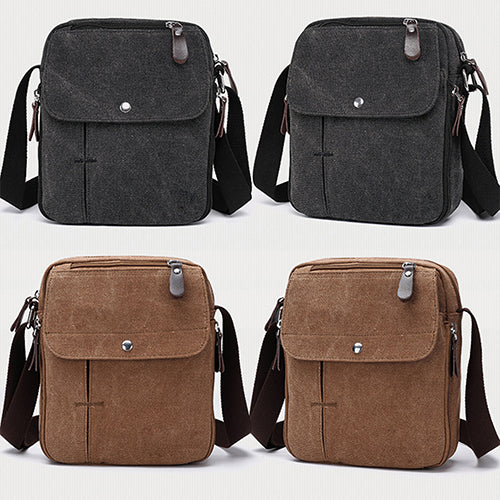 Men's Outdoor Travel Canvas Shoulder Bag Casual Crossbody Zipper Tote Handbag-Luggage and Travel-SJI Shop