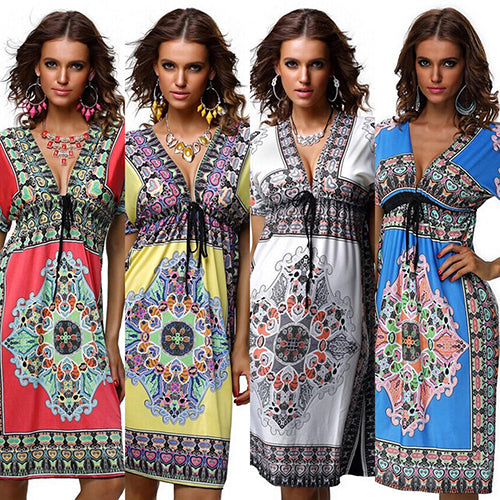 Women Bohemian Style Vintage Summer Print V-Neck Short Sleeve Beach Wear Dress-Women's Clothing-SJI Shop
