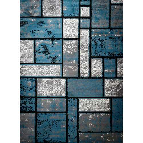 Giuliana Dusty Brick Light Blue/Gray Area Rug 3 ft. by 5 ft.-Rugs-SJI Shop