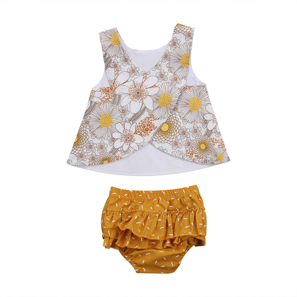 Flower Infant Baby Girls Sleeveless Vest Top Ruffles Shorts Outfit Clothes Set-Baby's Sets-SJI Shop