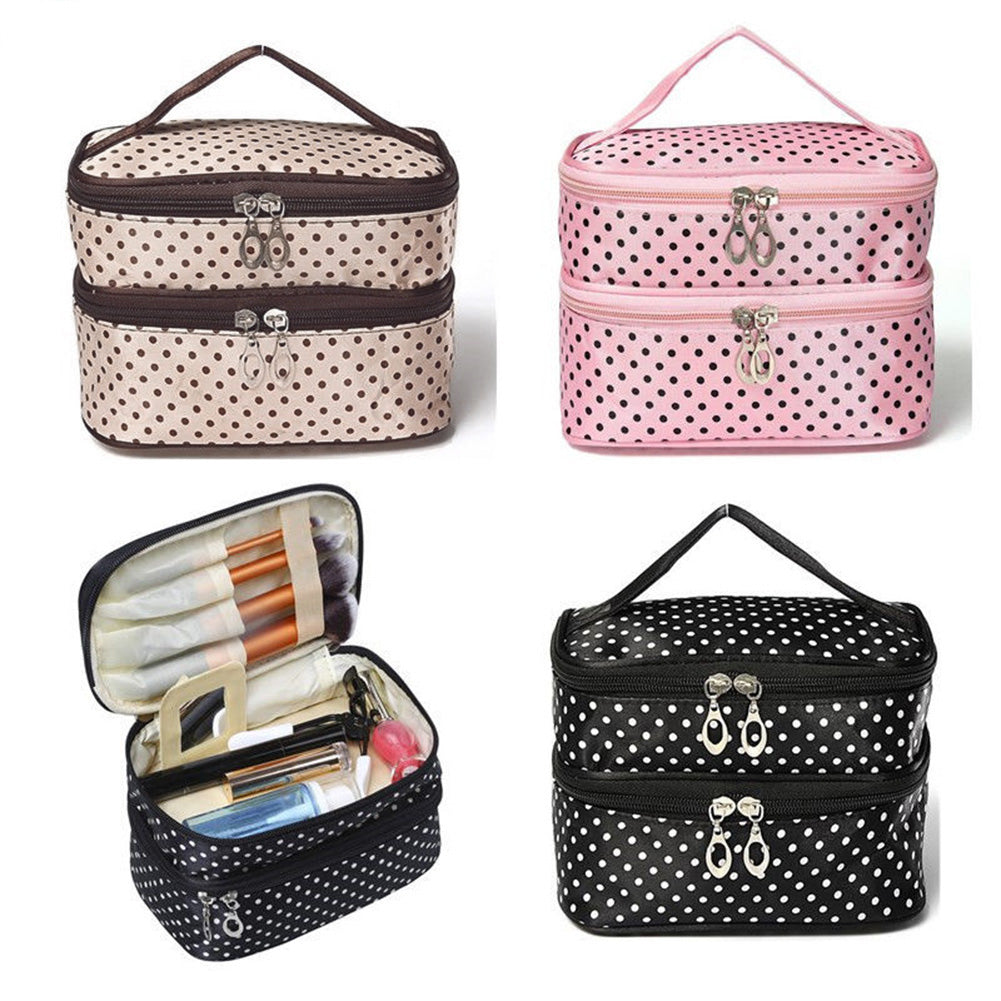 Travel Cosmetic Polka Dot Double Layers Makeup Toiletry Organizer Storage Bag-Bag Accesories-SJI Shop