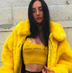 I AM Gia Faux Fur Coats Women Thick Brand Steetwear Female Yellow Fur Coats And Jackets Winter Warm Fur Coats