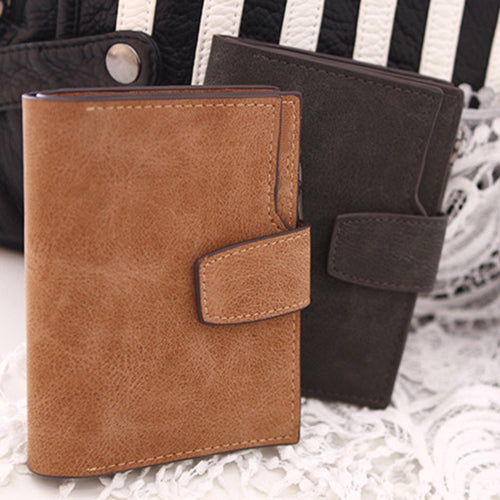 Women's Vintage Matte Wallet Card Slots Cash Coin Holder Short Zipper Purse-Wallets-SJI Shop