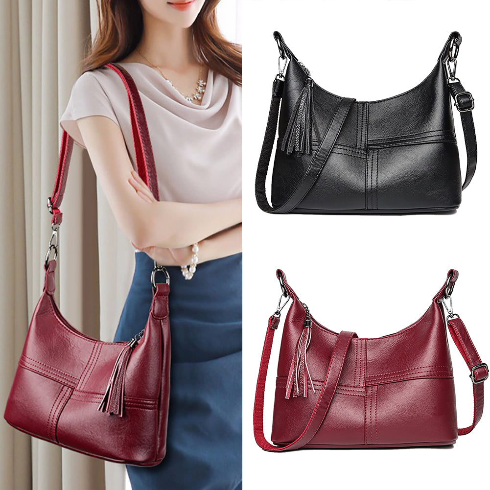 Classic Cross Grain Faux Leather Tassels Large Capacity Women Shoulder Bag Pouch-Shoulder Bags & Cross-Body Bags-SJI Shop