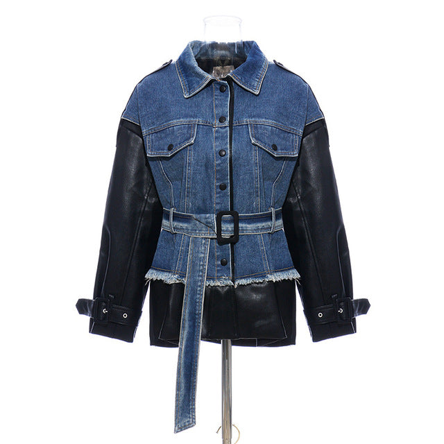 Patchwork Hit Color Denim Coats