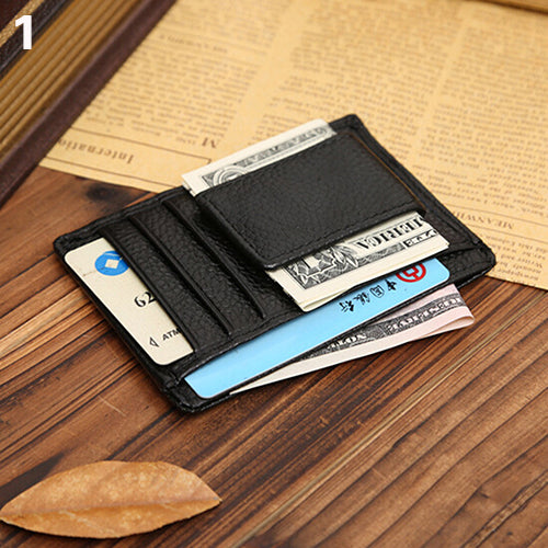 Men Faux Cowhide Leather Money Clip Wallet Credit Card ID Holder Business Pocket-Wallets-SJI Shop