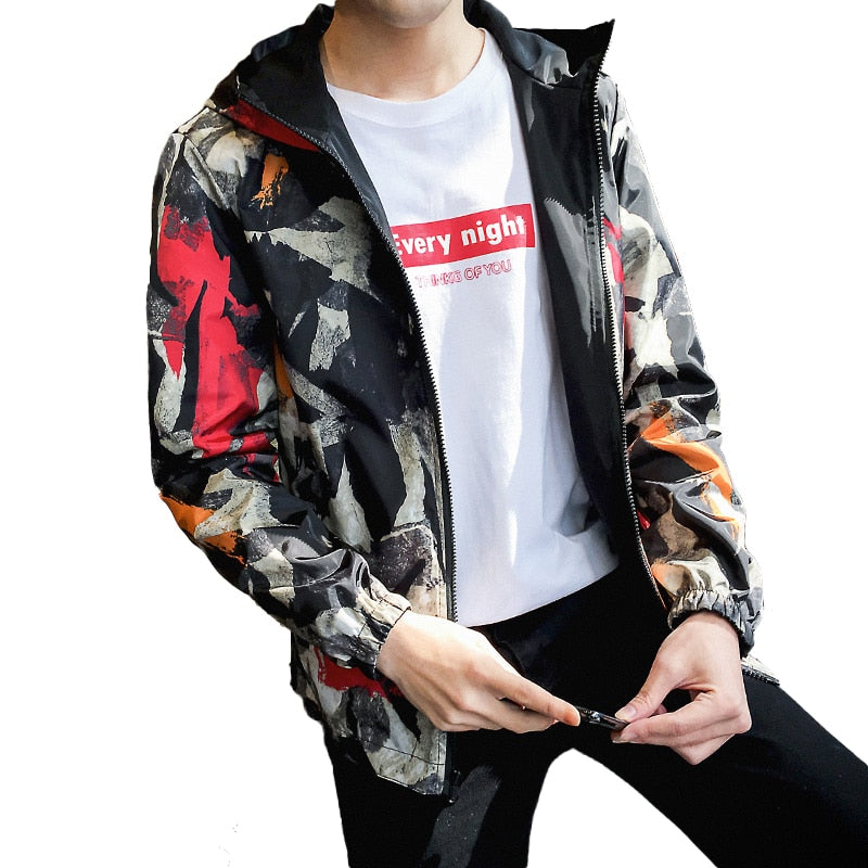 Causal Men Zipper Lightweight Jackets Both Side Wear Hooded Jackets Coats Male Jaqueta Masculina