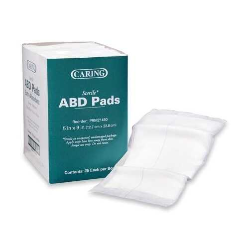 "Case of [6] Sterile Abdominal Pads 5"" x 9"" 25 Count"