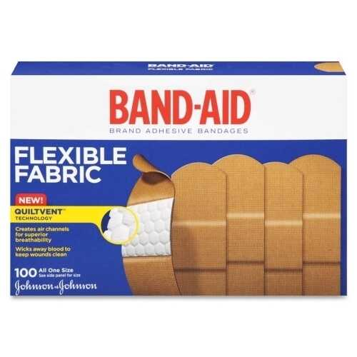 "Case of [3] Band-Aid Adhesive Flexible Fabric Bandages 1"" 100 Count"