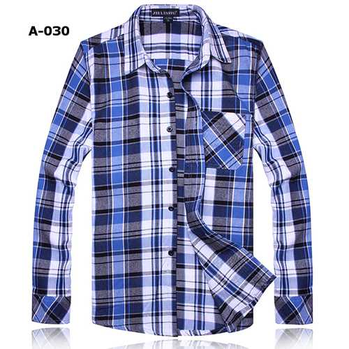 Fashion Mens Solid Grid Shirt Casual Slim Cotton Long Sleeved Shirt-Men Shirts-SJI Shop