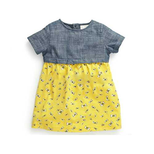 Little Maven Baby Girl Children Summer Blue Top &Yellow Cotton Dress-Girls Clothing-SJI Shop