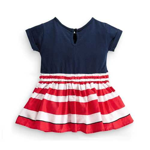 Little Maven Baby Girl Children Summer Dark Blue&Red Stripe Cotton Dress-Girls Clothing-SJI Shop