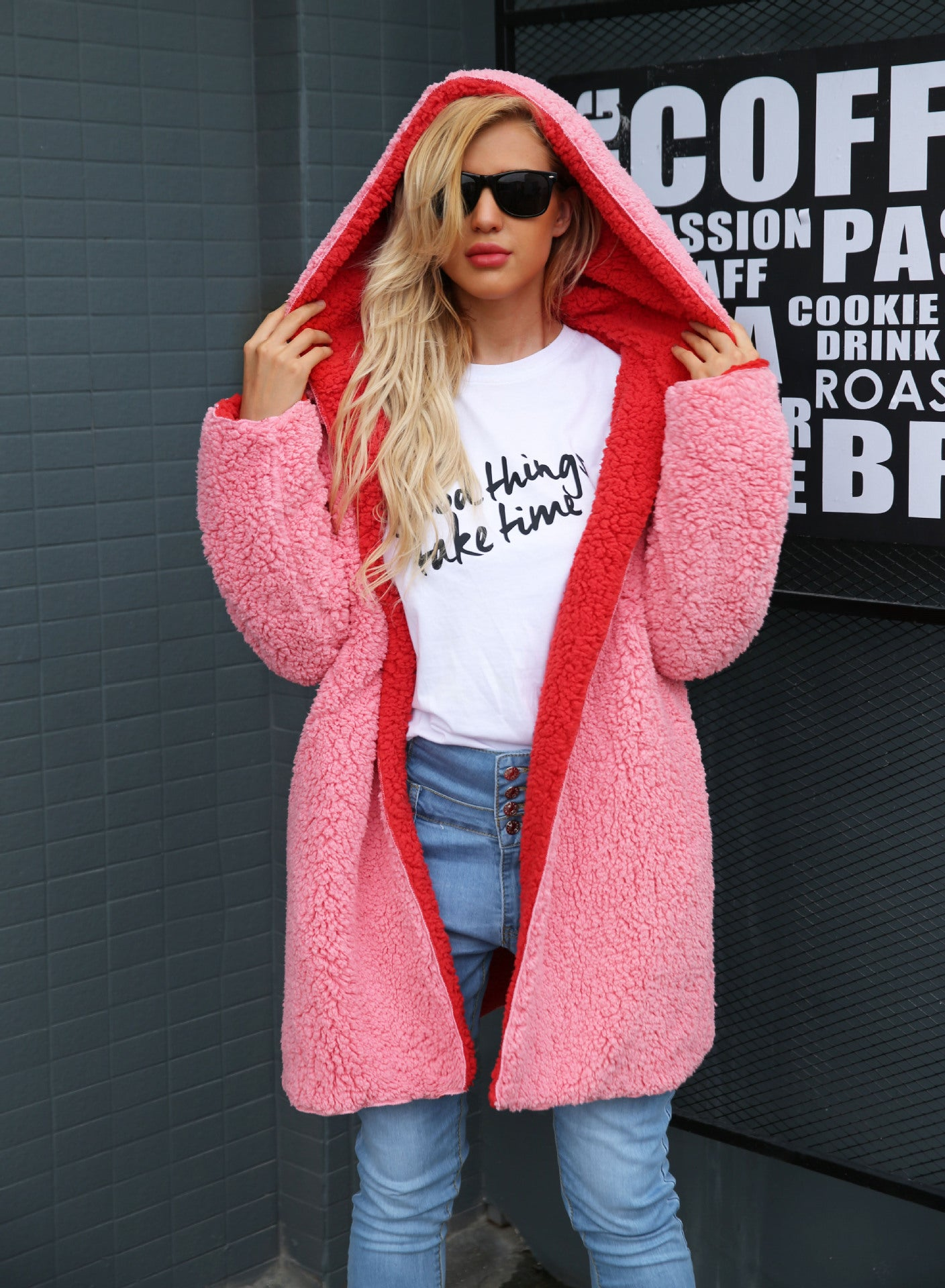 Hooded teddy jacket pink fur coat women Plus size lambswool long winter coat Hairly faux fur jacket female overcoat