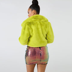 Lime Green Short Faux Fur Coat Winter Neon Fluorescent Warm Cardigan Cropped Jacket Fluffy Teddy Coats