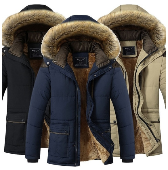 Winter Coat Plus Size Men Jacket Warm Overcoat Outwear Cotton Hooded Down Coat