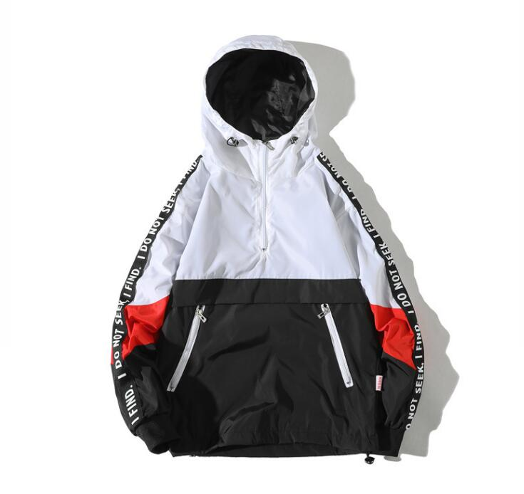 Hooded Jackets Men Block Pullover Jacket Fashion Tracksuit Coat Men Hip Hop Streetwear Jacket Men