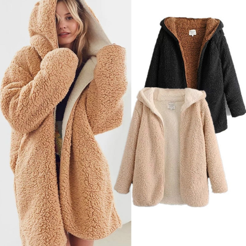 Warm Bomber Reversible Soft Fleece Hooded Lamb Fur Jacket Double Sides lambswool Coat Vintage hooded Parka Outwear Coats