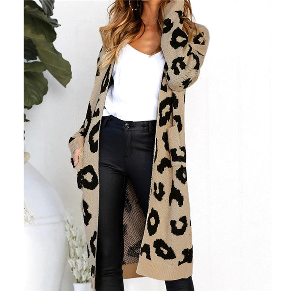 Liva Sexy Leopard Printed Cardigan Sweater Women 2018 Autumn Winter Sweater Harajuku Long Sleeve Knitwear Sweater Sueter Mujer