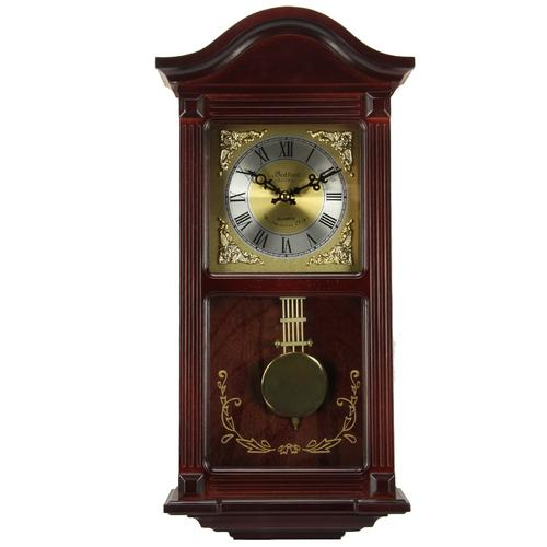 Bedford Clock Collection 22 Inch Wall Clock in Mahogany Cherry Oak Wood with Brass Pendulum and 4 Chimes-Clocks-SJI Shop
