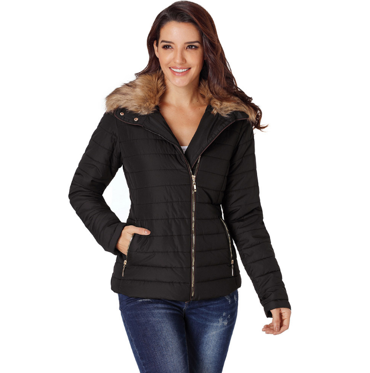 Winter Womens Faux Fur Collar Zip Up Quilted Jacket Coat